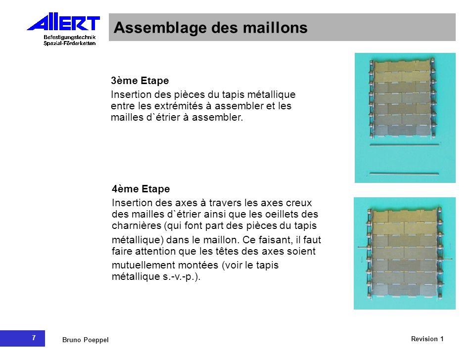 7 Revision 1 Bruno Poeppel Assemblage des maillons 3ème Etape Insertion des pièces du tapis métallique entre les extrémités à assembler et les mailles