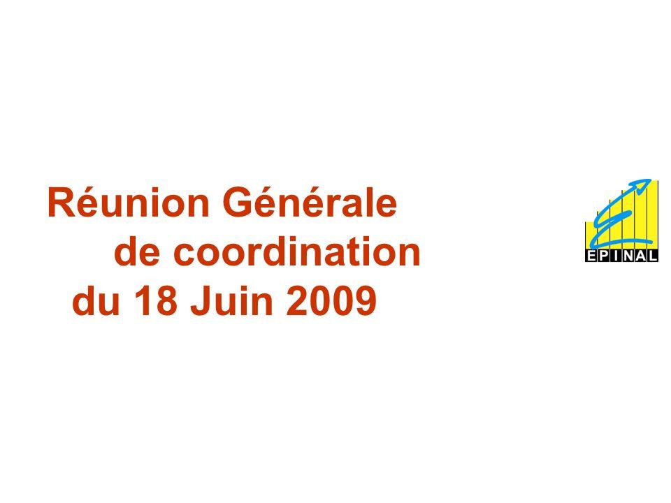 2 REUNION DE COORDINATION DU 18 JUIN 2009 Ordre du Jour 1.Les indicateurs qualité ; 2.Laudit externe du 03 Juillet et les audits internes ; 3.Procédure de commande publique : proposition dune nouvelle nomenclature ; 4.
