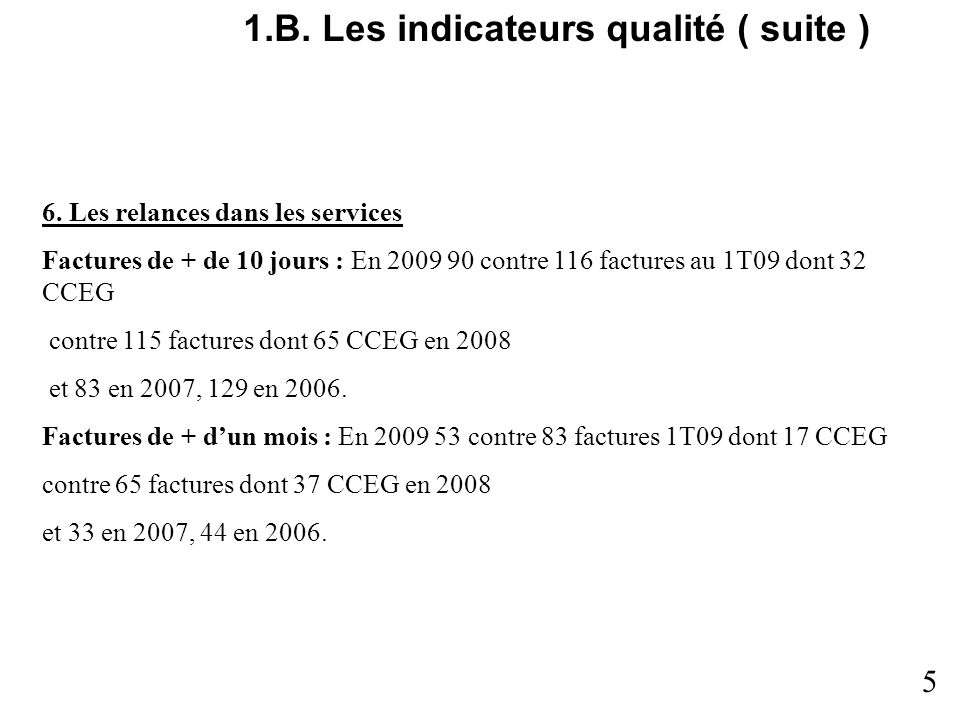 1.B.Les indicateurs qualité ( suite ) 6.