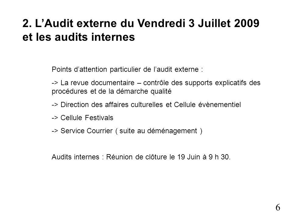 6 2. LAudit externe du Vendredi 3 Juillet 2009 et les audits internes Points dattention particulier de laudit externe : -> La revue documentaire – con