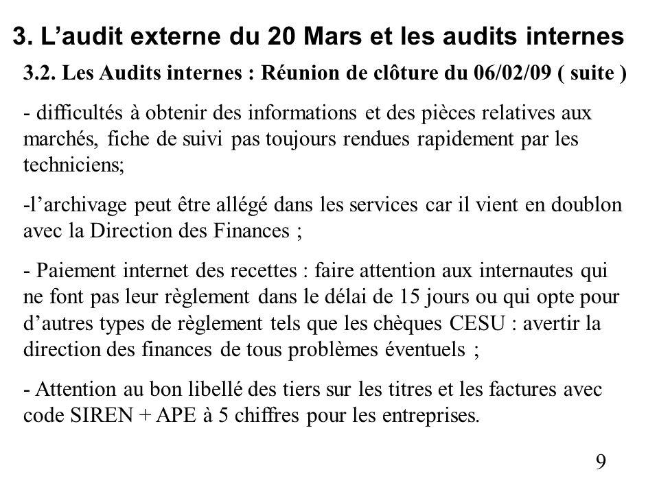 9 3. Laudit externe du 20 Mars et les audits internes 3.2. Les Audits internes : Réunion de clôture du 06/02/09 ( suite ) - difficultés à obtenir des