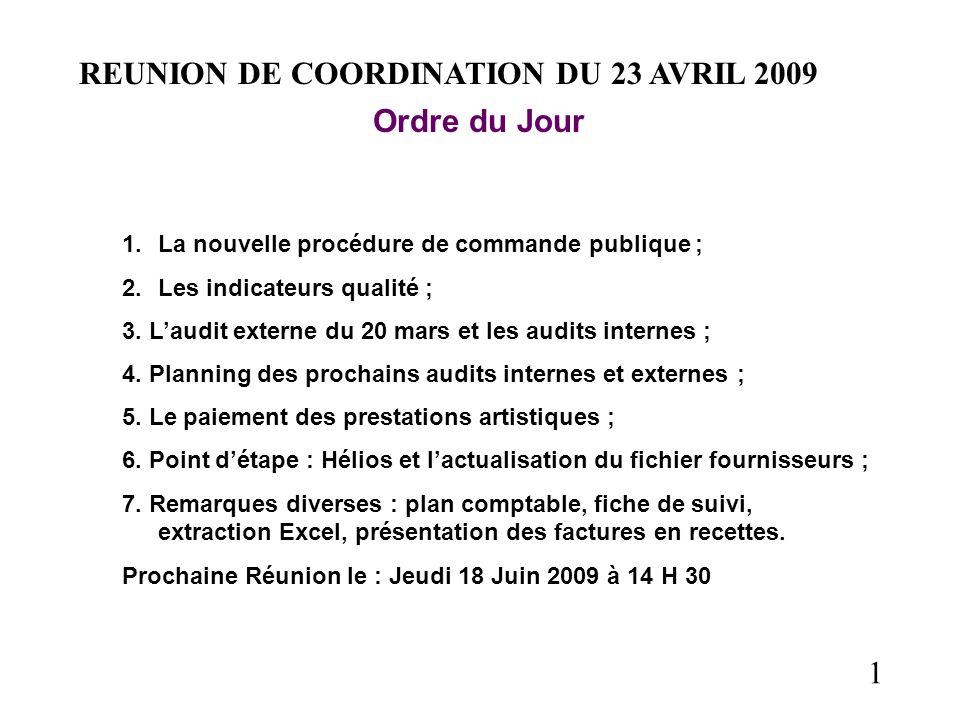 1 REUNION DE COORDINATION DU 23 AVRIL 2009 Ordre du Jour 1.La nouvelle procédure de commande publique ; 2.Les indicateurs qualité ; 3. Laudit externe