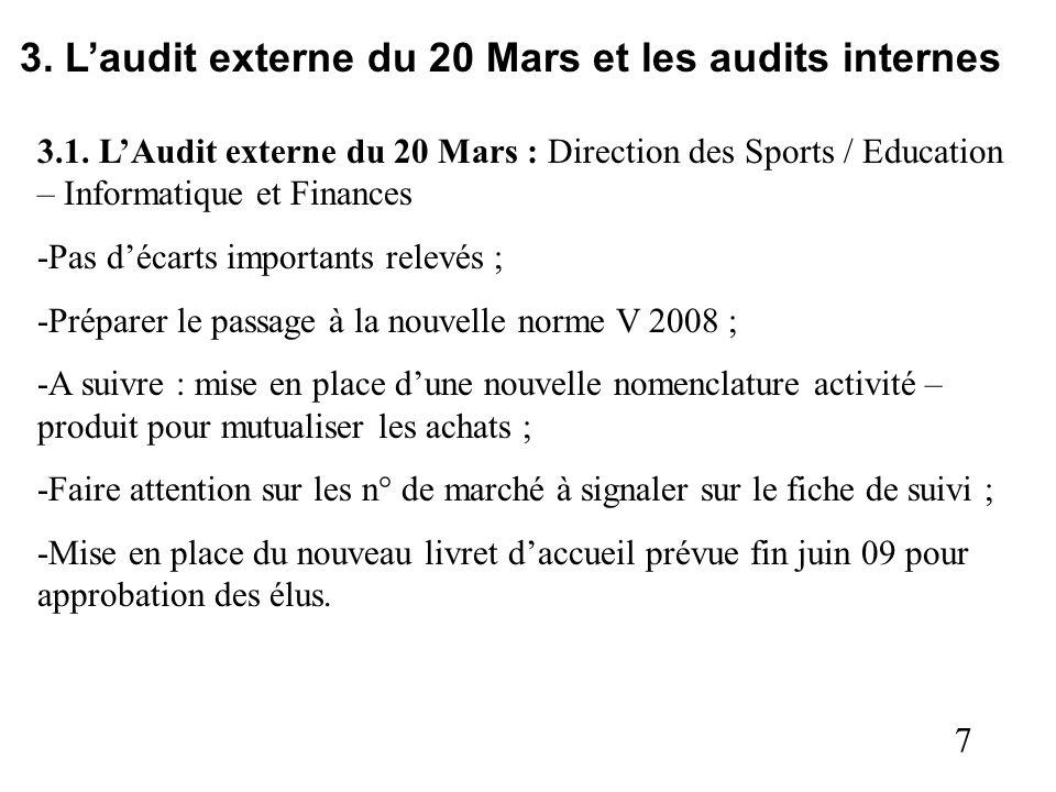 7 3. Laudit externe du 20 Mars et les audits internes 3.1. LAudit externe du 20 Mars : Direction des Sports / Education – Informatique et Finances -Pa