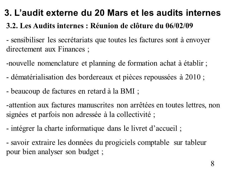 8 3. Laudit externe du 20 Mars et les audits internes 3.2. Les Audits internes : Réunion de clôture du 06/02/09 - sensibiliser les secrétariats que to