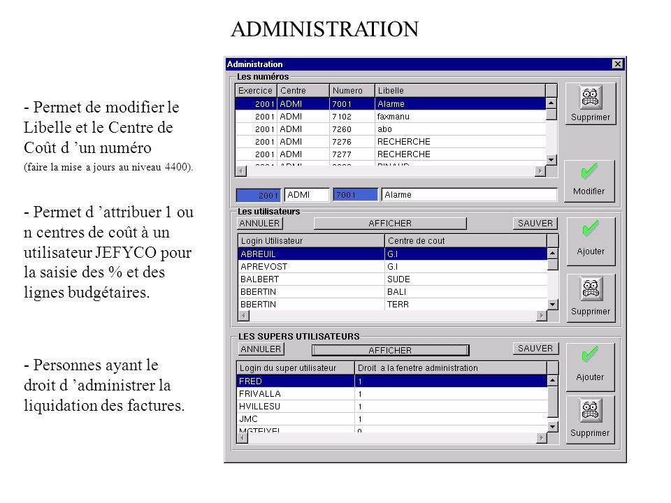 Permet à un utilisateur autorisé (administration) d attribuer un pourcentage et une ligne budgétaire à un numéro.