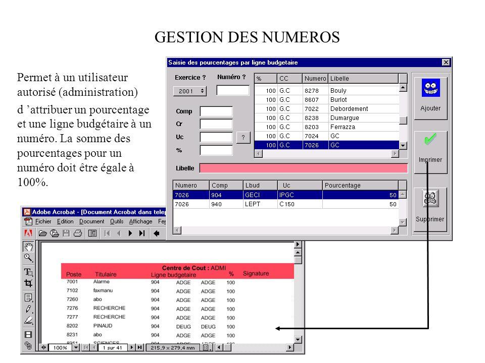 Permet à un utilisateur d attribuer un bon de commande (saisie dans jefyco pour cet opérateur ) aux lignes budgétaires utilisées par les numéros de téléphones.