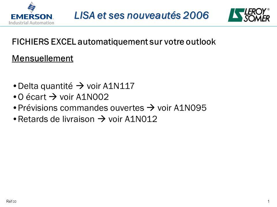 Réf.1 LISA et ses nouveautés 2006 00 FICHIERS EXCEL automatiquement sur votre outlook Mensuellement Delta quantité voir A1N117 O écart voir A1N002 Prévisions commandes ouvertes voir A1N095 Retards de livraison voir A1N012