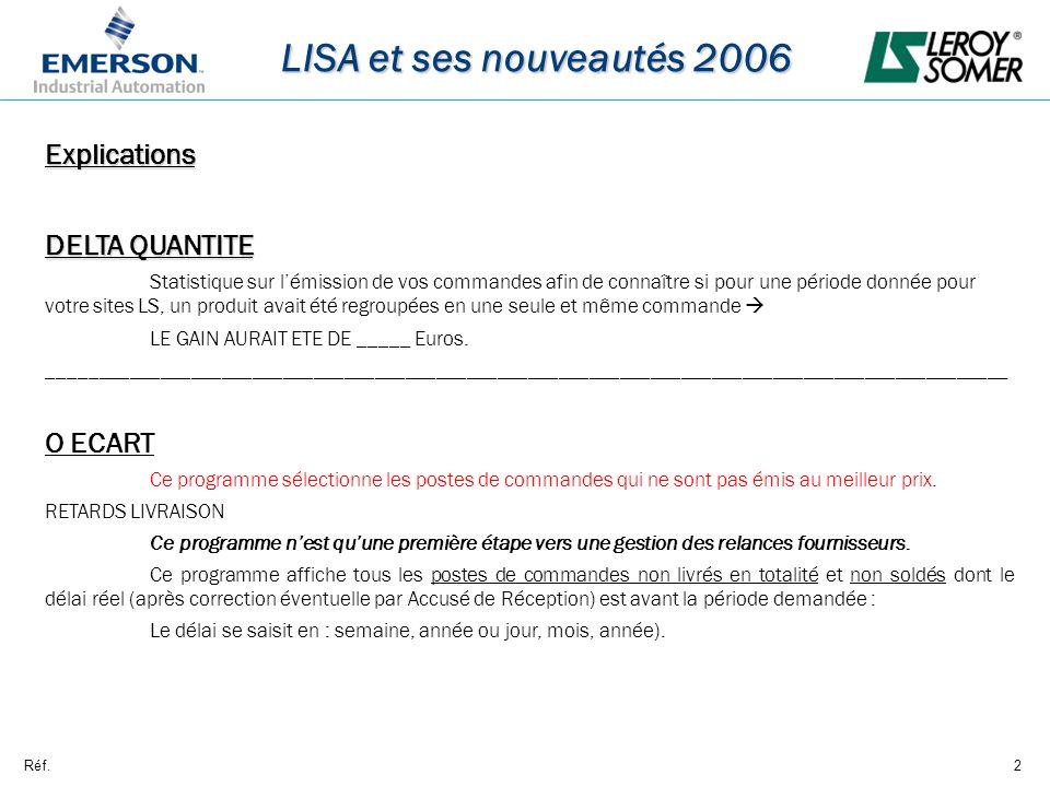 Réf.2 LISA et ses nouveautés 2006 Explications DELTA QUANTITE Statistique sur lémission de vos commandes afin de connaître si pour une période donnée pour votre sites LS, un produit avait été regroupées en une seule et même commande LE GAIN AURAIT ETE DE _____ Euros.