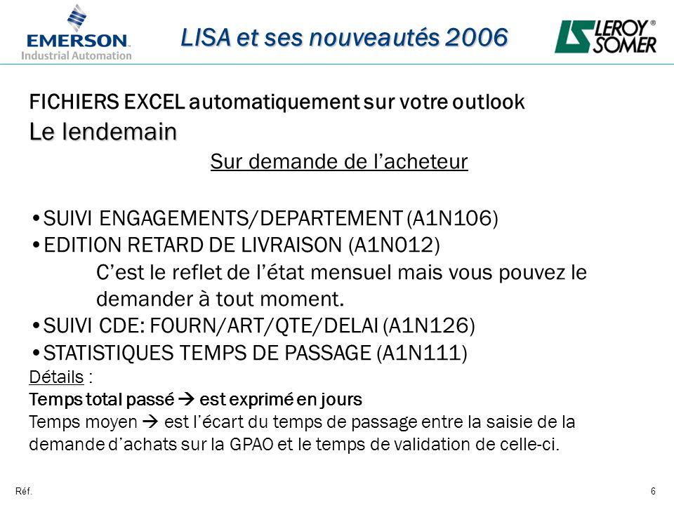 Réf.6 LISA et ses nouveautés 2006 FICHIERS EXCEL automatiquement sur votre outlook Le lendemain Sur demande de lacheteur SUIVI ENGAGEMENTS/DEPARTEMENT (A1N106) EDITION RETARD DE LIVRAISON (A1N012) Cest le reflet de létat mensuel mais vous pouvez le demander à tout moment.