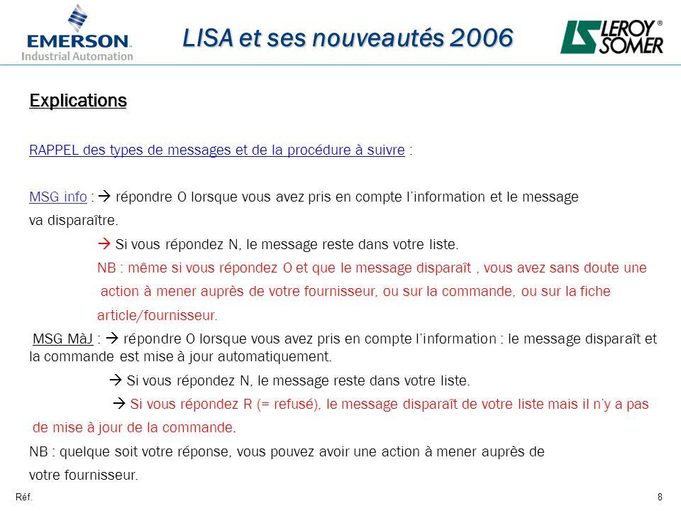 Réf.8 LISA et ses nouveautés 2006 Explications RAPPEL des types de messages et de la procédure à suivre : MSG info : répondre O lorsque vous avez pris en compte linformation et le message va disparaître.