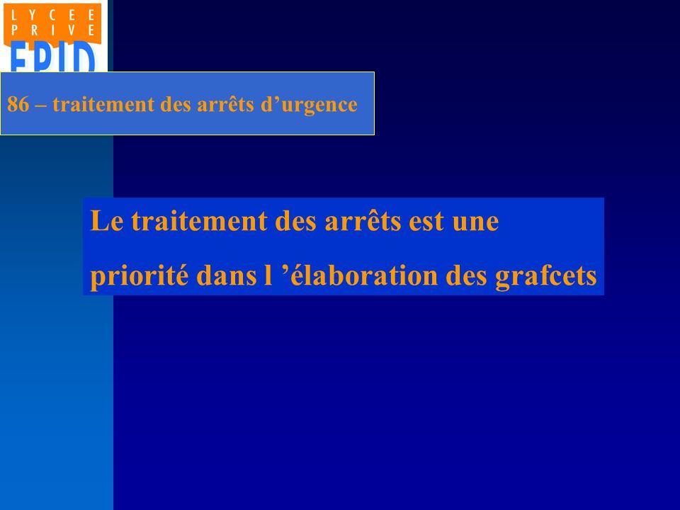 86 – traitement des arrêts durgence Le traitement des arrêts est une priorité dans l élaboration des grafcets