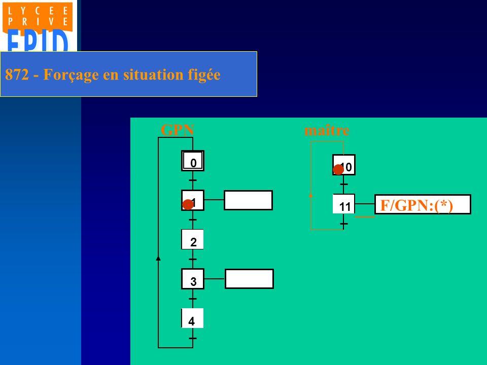 872 - Forçage en situation figée 2 1 3 4 0 4 11 10 F/GPN:(*) GPNmaître