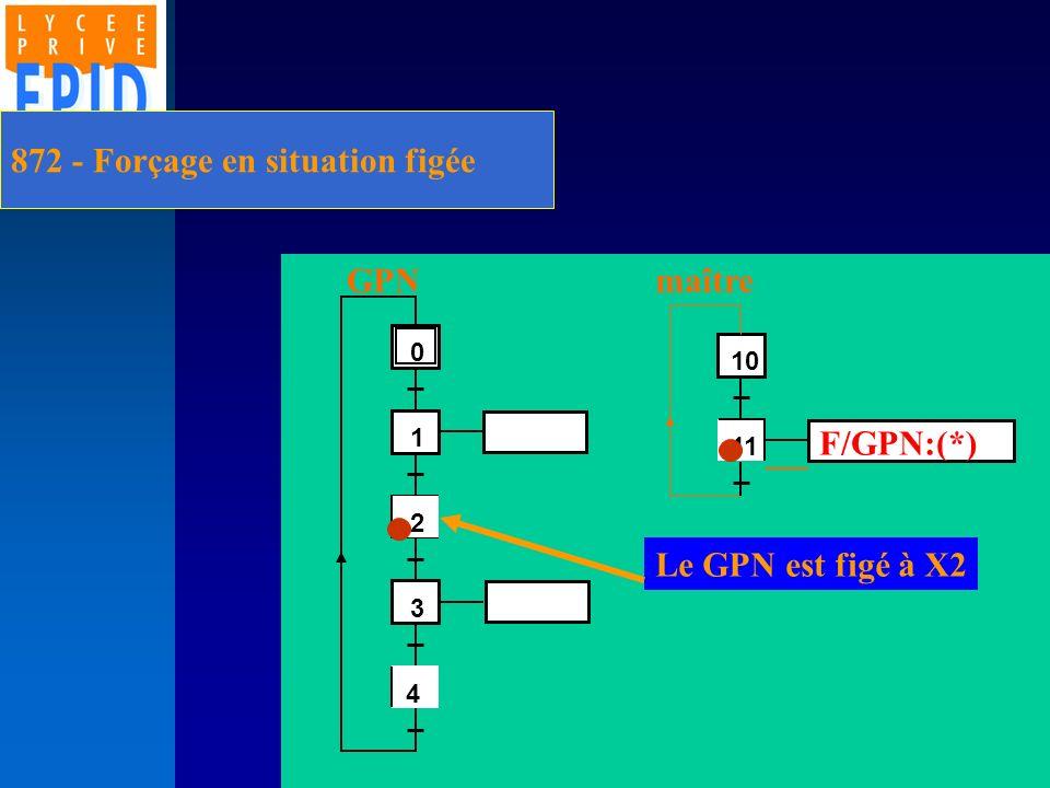 872 - Forçage en situation figée 2 1 3 4 0 4 11 10 F/GPN:(*) GPNmaître Le GPN est figé à X2