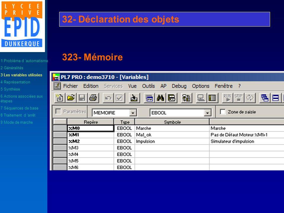 Les objets de type mémoire représentent les variables internes de la machine. Ces objets peuvent être de type bit, octet (8bit), mot (16 bit), mot dou