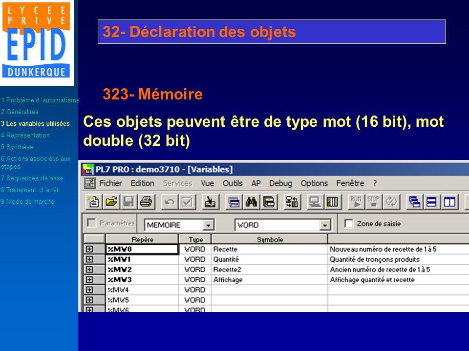 Ces objets peuvent être de type mot (16 bit), mot double (32 bit) 32- Déclaration des objets 323- Mémoire 1 Problème d automatisme 2 Généralités 3 Les