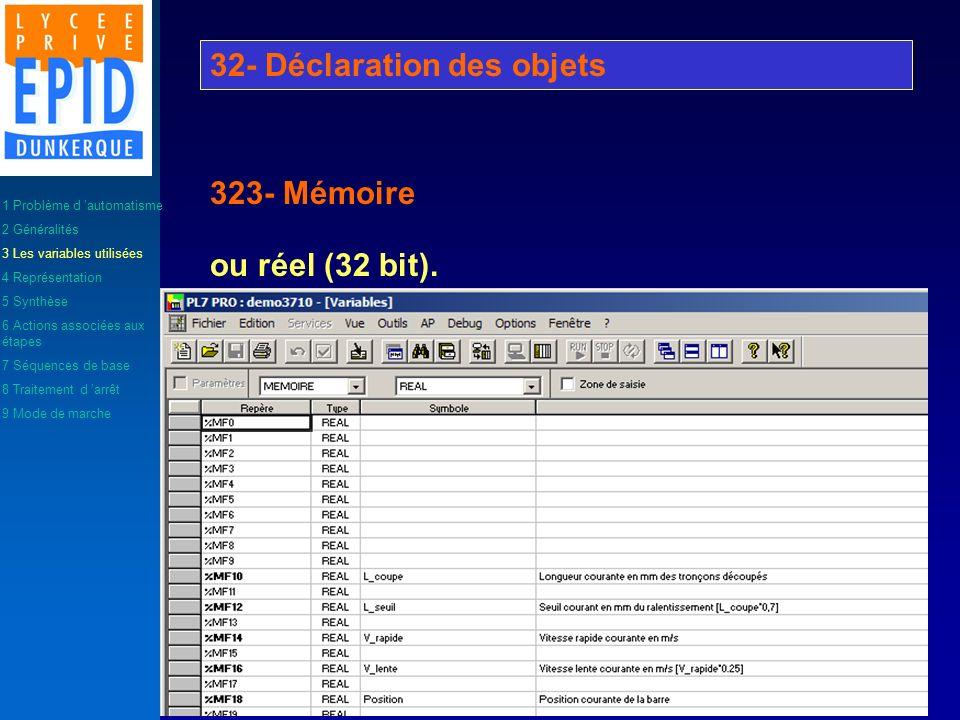 ou réel (32 bit). 32- Déclaration des objets 323- Mémoire 1 Problème d automatisme 2 Généralités 3 Les variables utilisées 4 Représentation 5 Synthèse