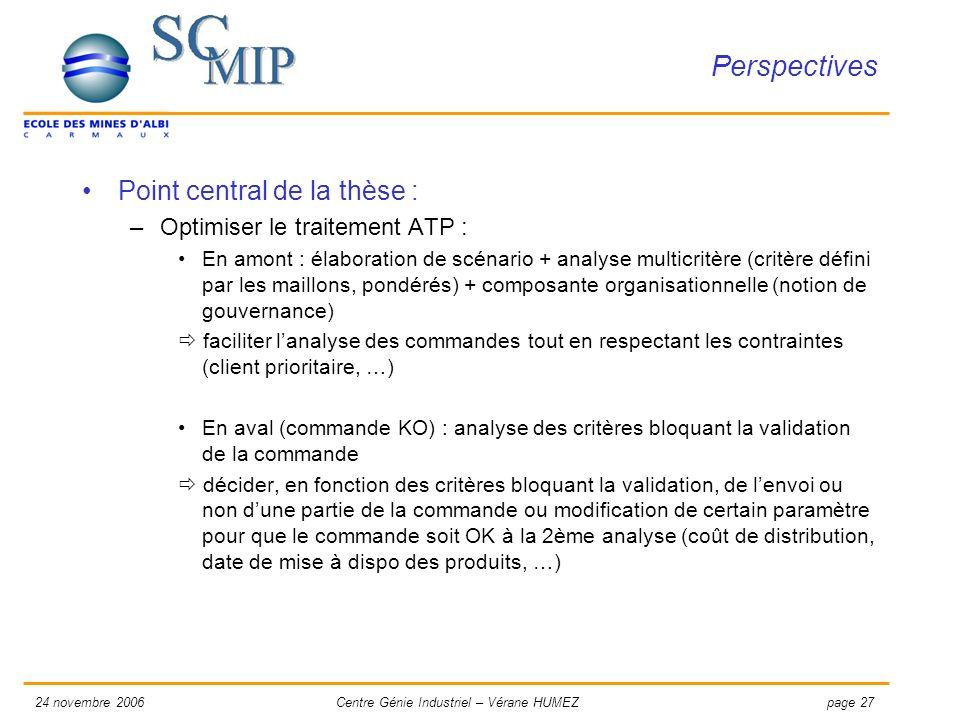 page 2724 novembre 2006Centre Génie Industriel – Vérane HUMEZ Perspectives Point central de la thèse : –Optimiser le traitement ATP : En amont : élabo