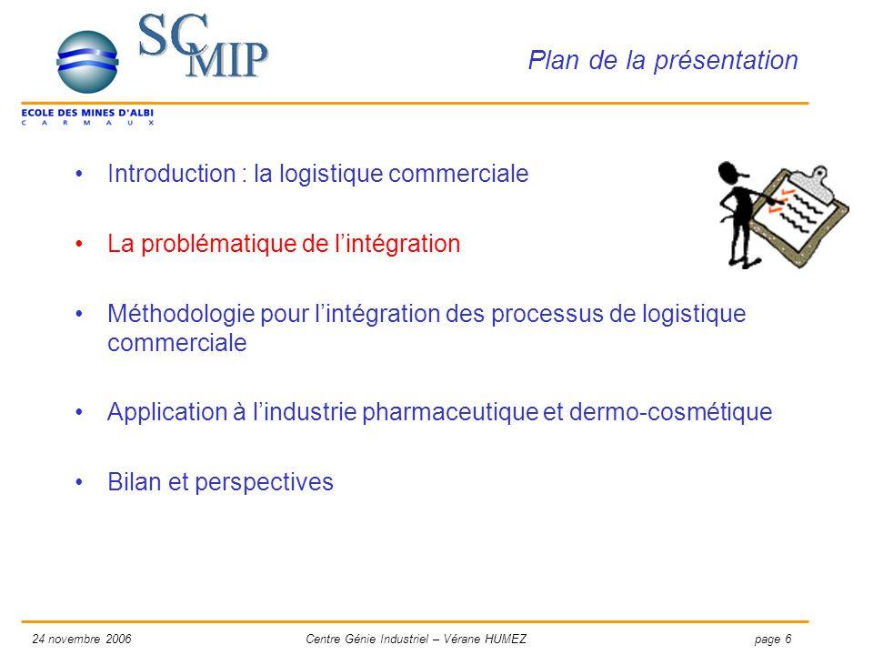 page 624 novembre 2006Centre Génie Industriel – Vérane HUMEZ Plan de la présentation Introduction : la logistique commerciale La problématique de lint