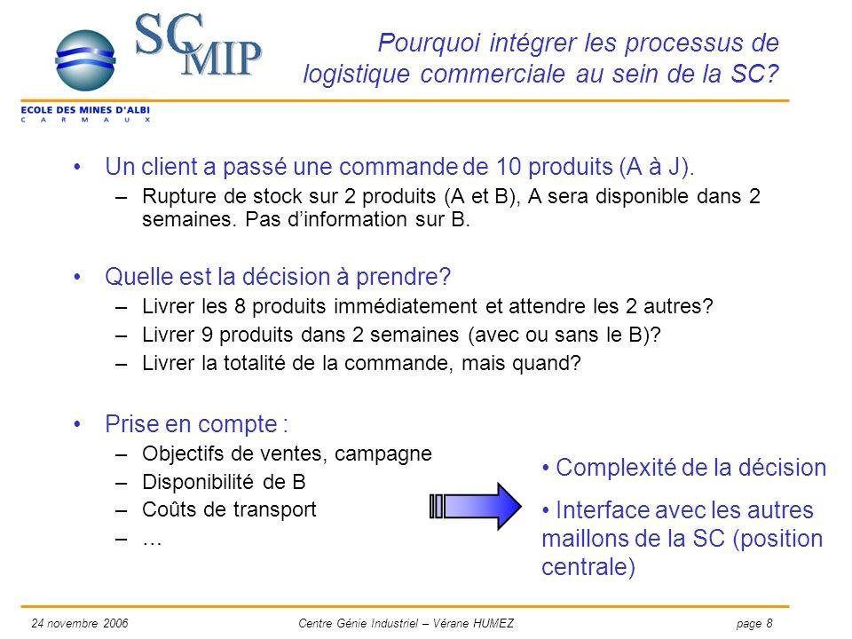 page 924 novembre 2006Centre Génie Industriel – Vérane HUMEZ Comment favoriser lintégration des processus de logistique commerciale au sein de la SC.