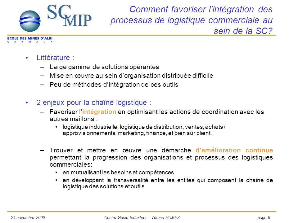 page 924 novembre 2006Centre Génie Industriel – Vérane HUMEZ Comment favoriser lintégration des processus de logistique commerciale au sein de la SC?