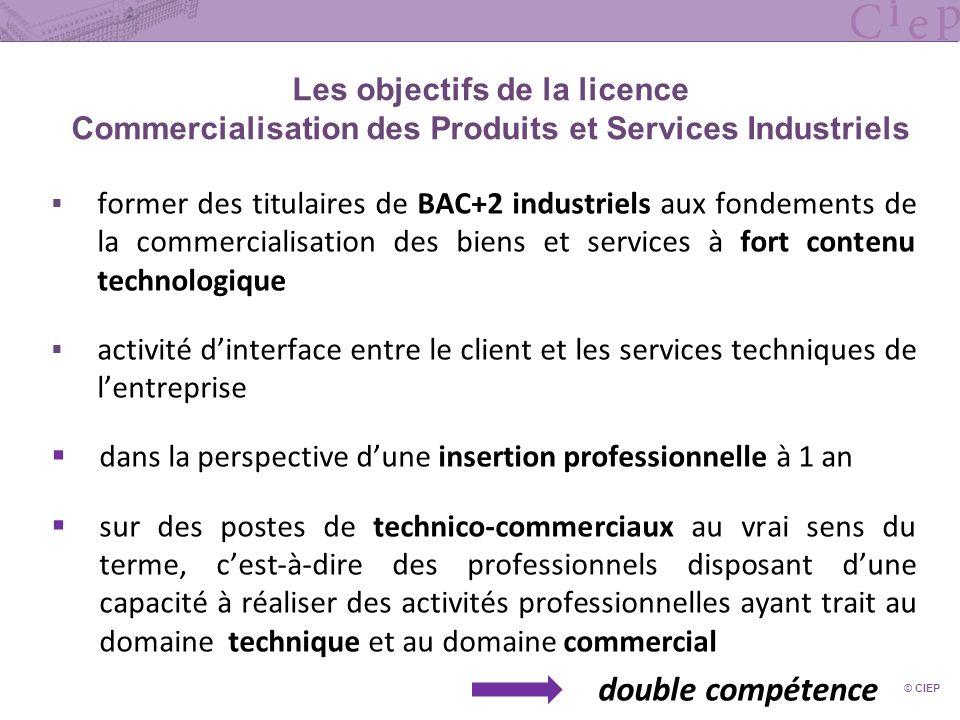 Les objectifs de la licence Commercialisation des Produits et Services Industriels former des titulaires de BAC+2 industriels aux fondements de la com