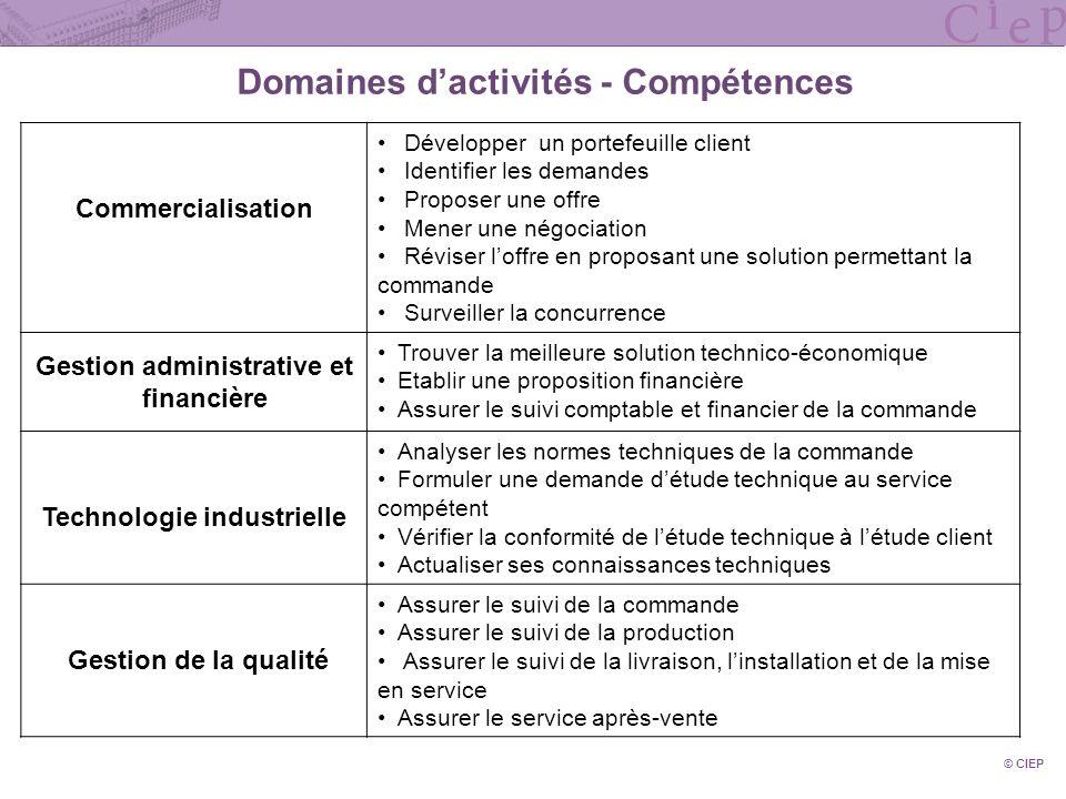 Domaines dactivités - Compétences Commercialisation ( Commercialisation Développer un portefeuille client Identifier les demandes Proposer une offre M