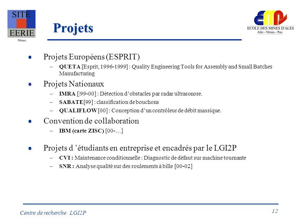 12 Centre de recherche LGI2P Projets Projets Européens (ESPRIT) –QUETA [Esprit, 1996-1999] : Quality Engineering Tools for Assembly and Small Batches Manufacturing Projets Nationaux –IMRA [|99-00] : Détection dobstacles par radar ultrasonore.