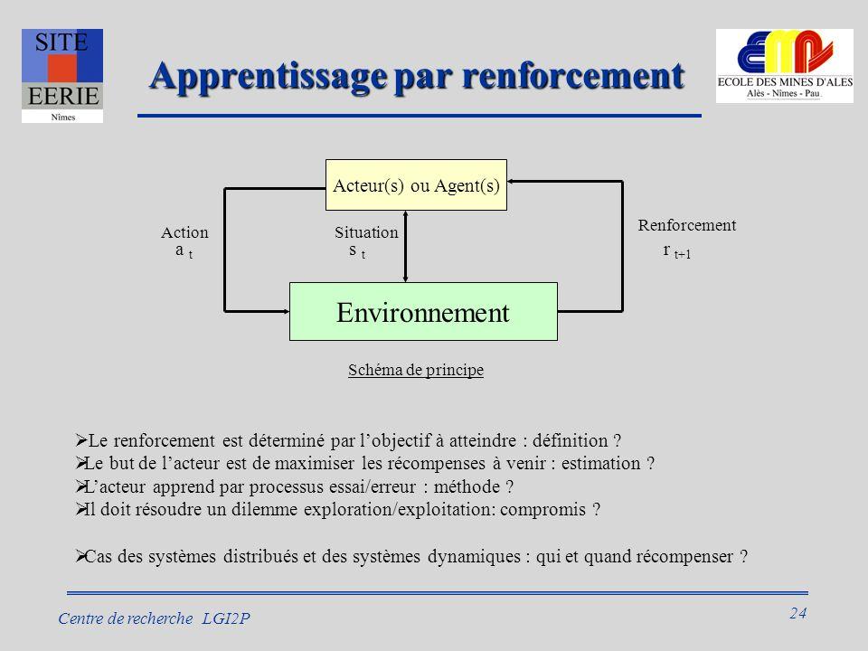 24 Centre de recherche LGI2P Apprentissage par renforcement Le renforcement est déterminé par lobjectif à atteindre : définition .