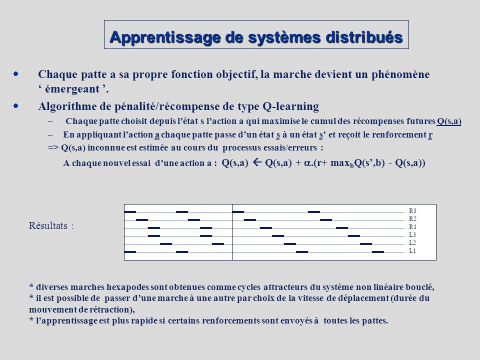 Apprentissage de systèmes distribués Chaque patte a sa propre fonction objectif, la marche devient un phénomène émergeant.