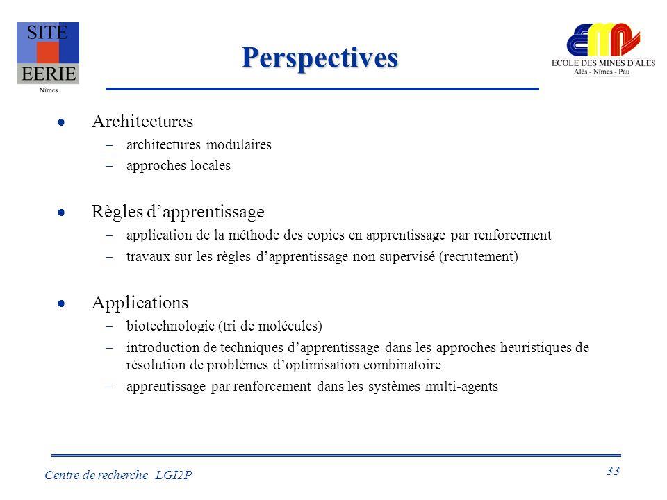 33 Centre de recherche LGI2P Perspectives Architectures –architectures modulaires –approches locales Règles dapprentissage –application de la méthode des copies en apprentissage par renforcement –travaux sur les règles dapprentissage non supervisé (recrutement) Applications –biotechnologie (tri de molécules) –introduction de techniques dapprentissage dans les approches heuristiques de résolution de problèmes doptimisation combinatoire –apprentissage par renforcement dans les systèmes multi-agents
