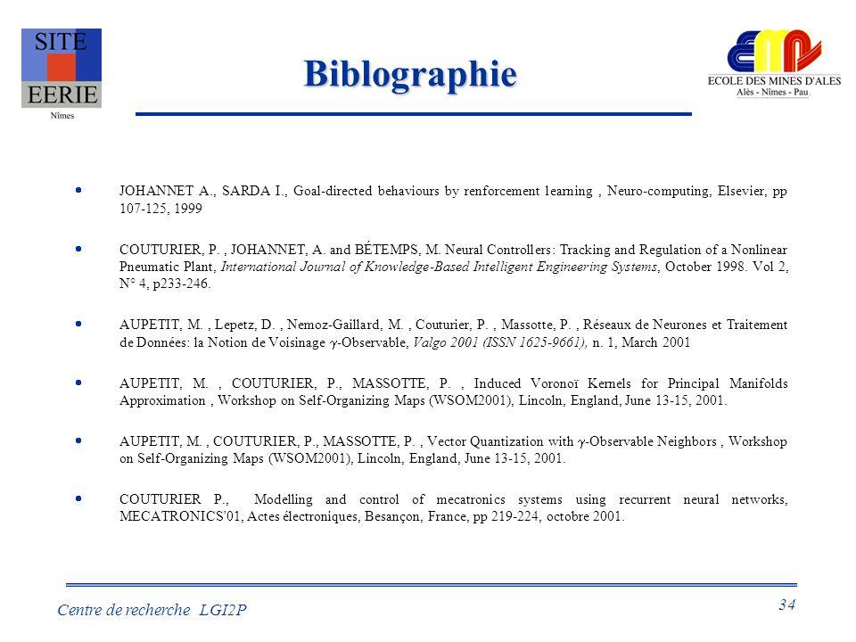 34 Centre de recherche LGI2P Biblographie JOHANNET A., SARDA I., Goal-directed behaviours by renforcement learning, Neuro-computing, Elsevier, pp 107-125, 1999 COUTURIER, P., JOHANNET, A.