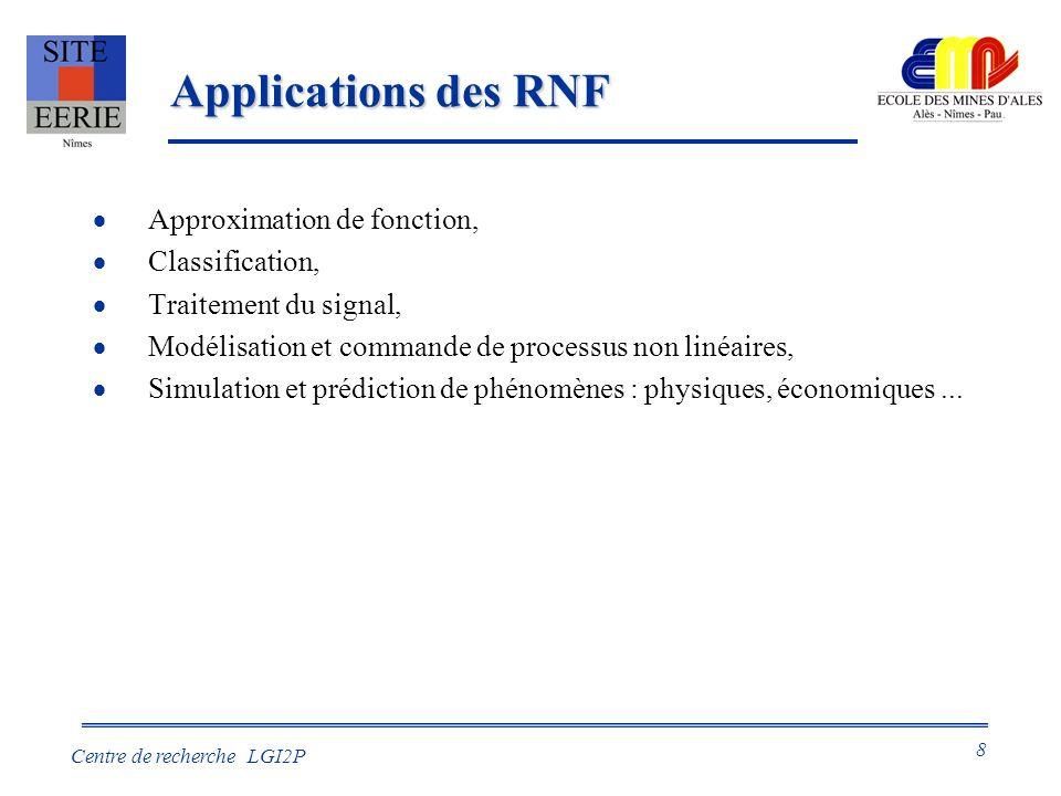 8 Centre de recherche LGI2P Applications des RNF Approximation de fonction, Classification, Traitement du signal, Modélisation et commande de processus non linéaires, Simulation et prédiction de phénomènes : physiques, économiques...