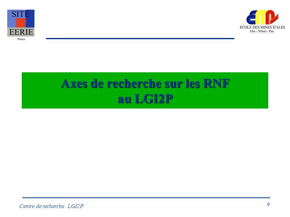 9 Centre de recherche LGI2P Axes de recherche sur les RNF au LGI2P