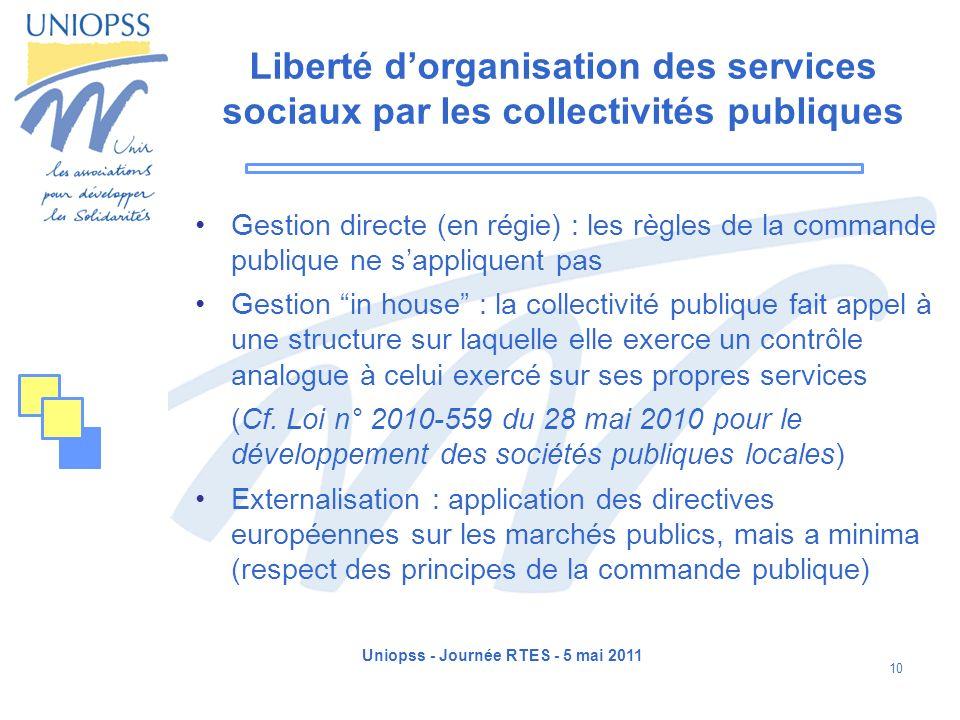 Uniopss - Journée RTES - 5 mai 2011 10 Liberté dorganisation des services sociaux par les collectivités publiques Gestion directe (en régie) : les règ