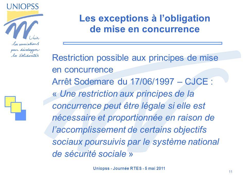 Uniopss - Journée RTES - 5 mai 2011 11 Les exceptions à lobligation de mise en concurrence Restriction possible aux principes de mise en concurrence A