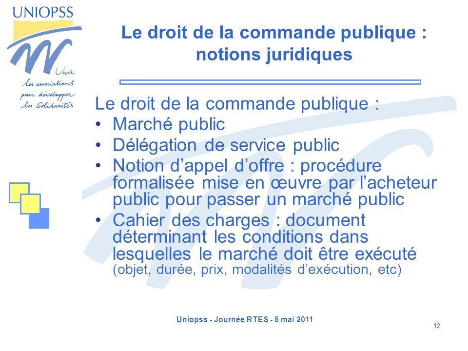 Uniopss - Journée RTES - 5 mai 2011 12 Le droit de la commande publique : notions juridiques Le droit de la commande publique : Marché public Délégati