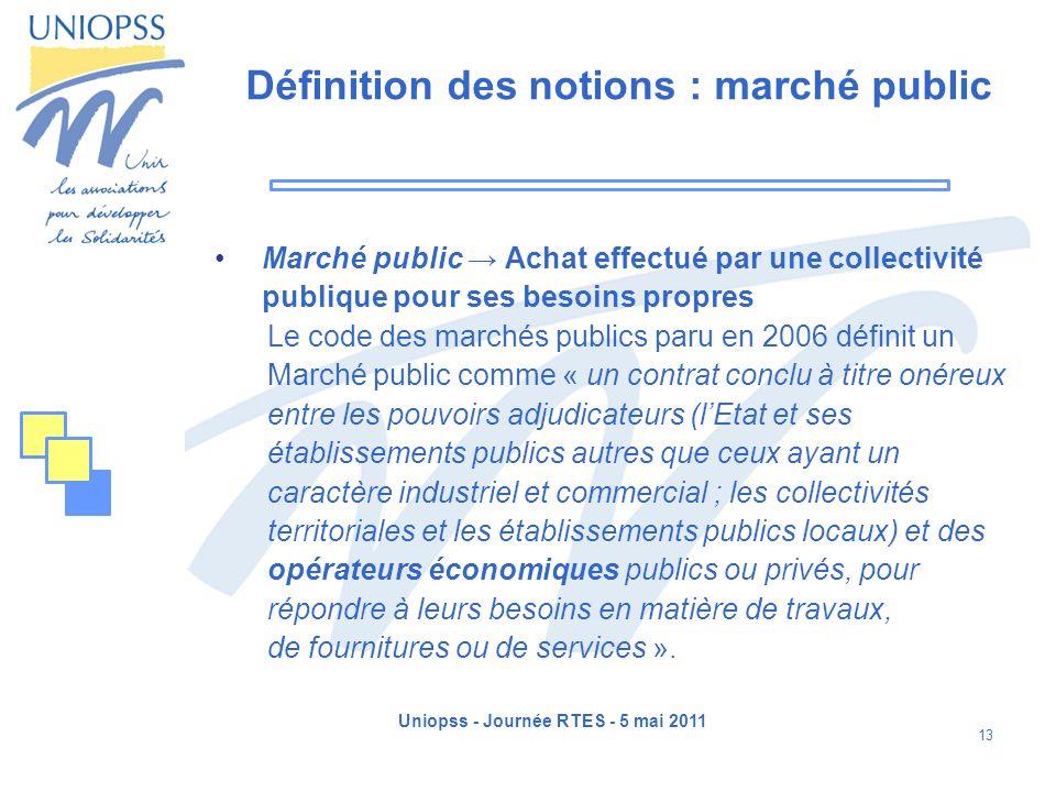 Uniopss - Journée RTES - 5 mai 2011 13 Définition des notions : marché public Marché public Achat effectué par une collectivité publique pour ses beso