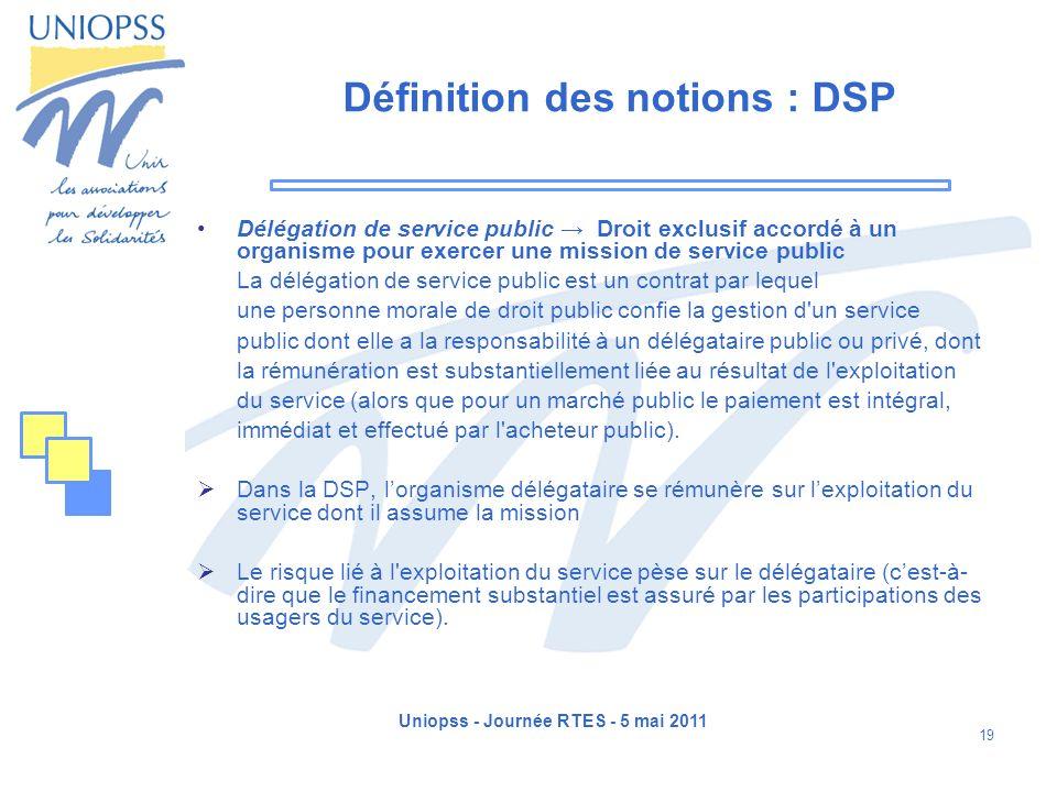 Uniopss - Journée RTES - 5 mai 2011 19 Définition des notions : DSP Délégation de service public Droit exclusif accordé à un organisme pour exercer un