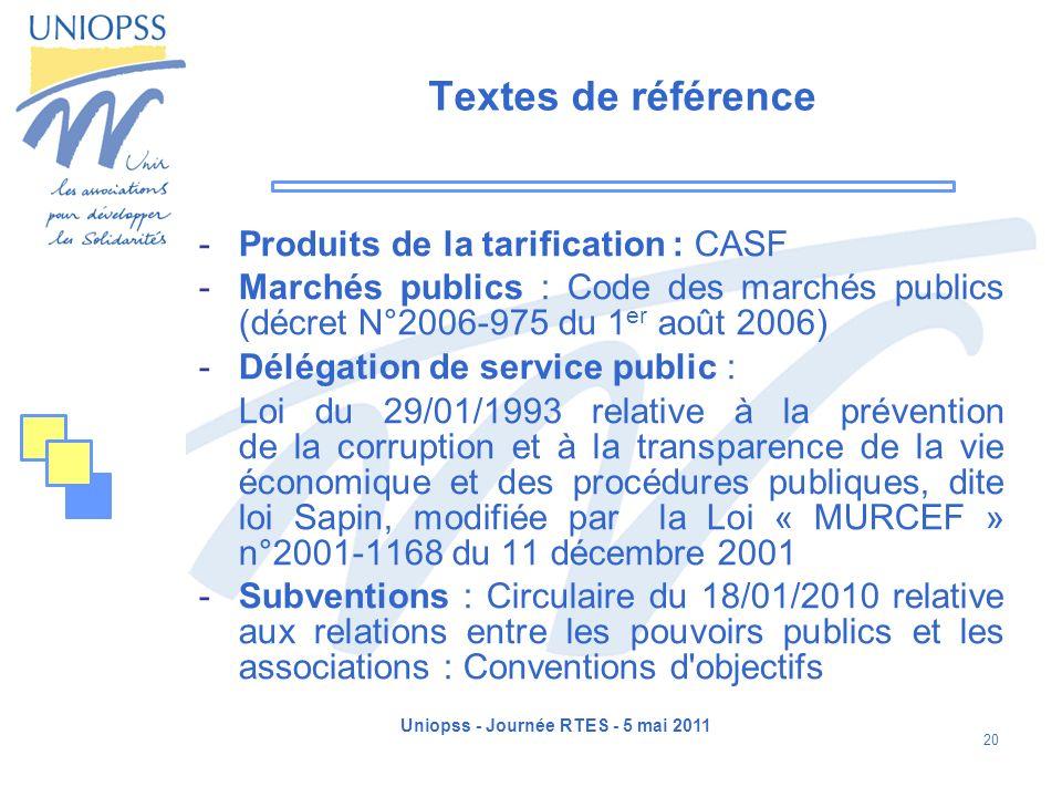 Uniopss - Journée RTES - 5 mai 2011 20 Textes de référence -Produits de la tarification : CASF -Marchés publics : Code des marchés publics (décret N°2