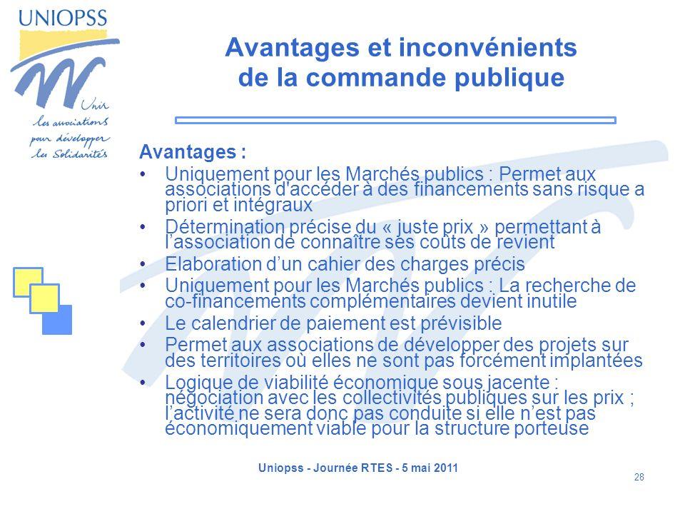Uniopss - Journée RTES - 5 mai 2011 28 Avantages et inconvénients de la commande publique Avantages : Uniquement pour les Marchés publics : Permet aux
