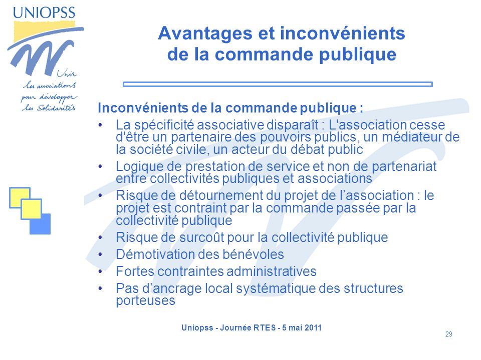 Uniopss - Journée RTES - 5 mai 2011 29 Avantages et inconvénients de la commande publique Inconvénients de la commande publique : La spécificité assoc