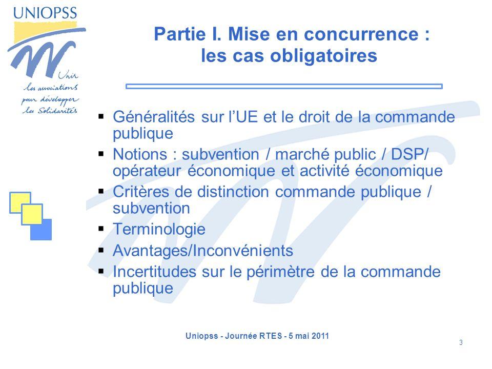 Uniopss - Journée RTES - 5 mai 2011 14 Définition des notions : marché public Un marché public revêt donc un caractère contractuel consacrant laccord établi entre deux personnes morales.