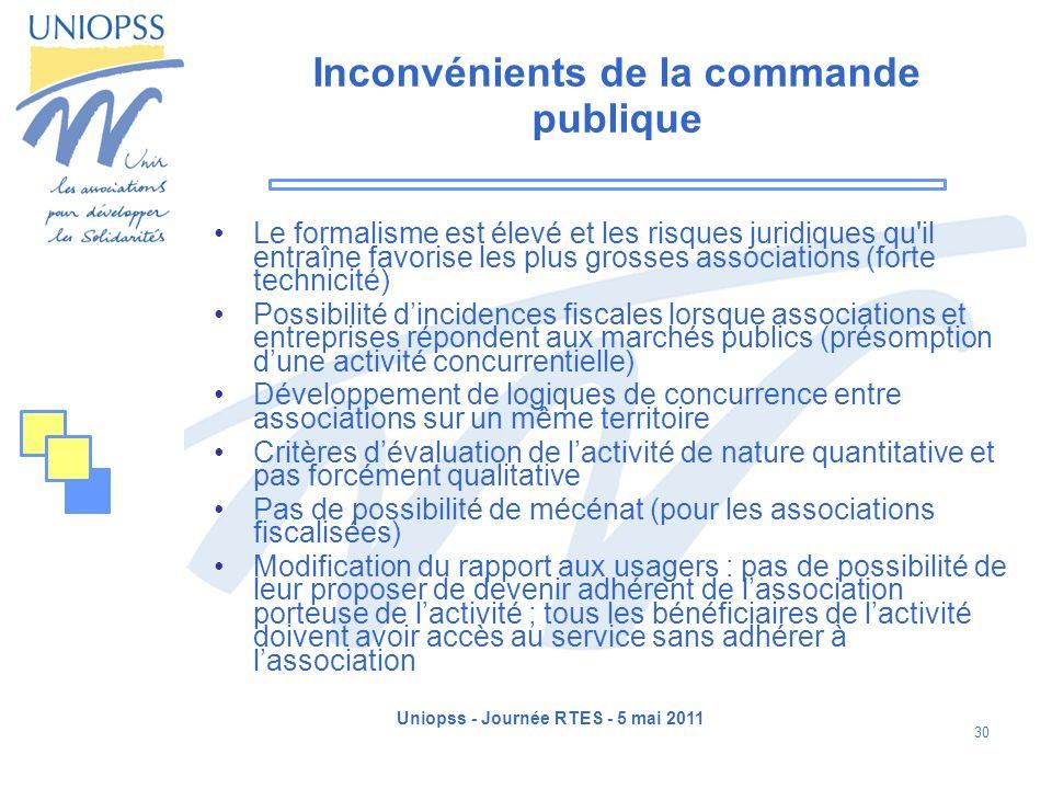 Uniopss - Journée RTES - 5 mai 2011 30 Inconvénients de la commande publique Le formalisme est élevé et les risques juridiques qu'il entraîne favorise