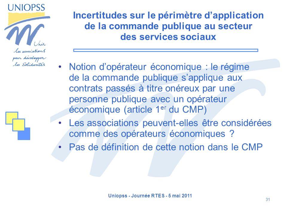 Uniopss - Journée RTES - 5 mai 2011 31 Incertitudes sur le périmètre dapplication de la commande publique au secteur des services sociaux Notion dopér