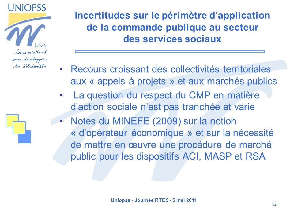 Uniopss - Journée RTES - 5 mai 2011 32 Incertitudes sur le périmètre dapplication de la commande publique au secteur des services sociaux Recours croi