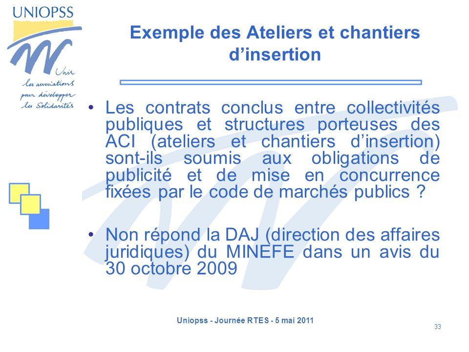 Uniopss - Journée RTES - 5 mai 2011 33 Exemple des Ateliers et chantiers dinsertion Les contrats conclus entre collectivités publiques et structures p