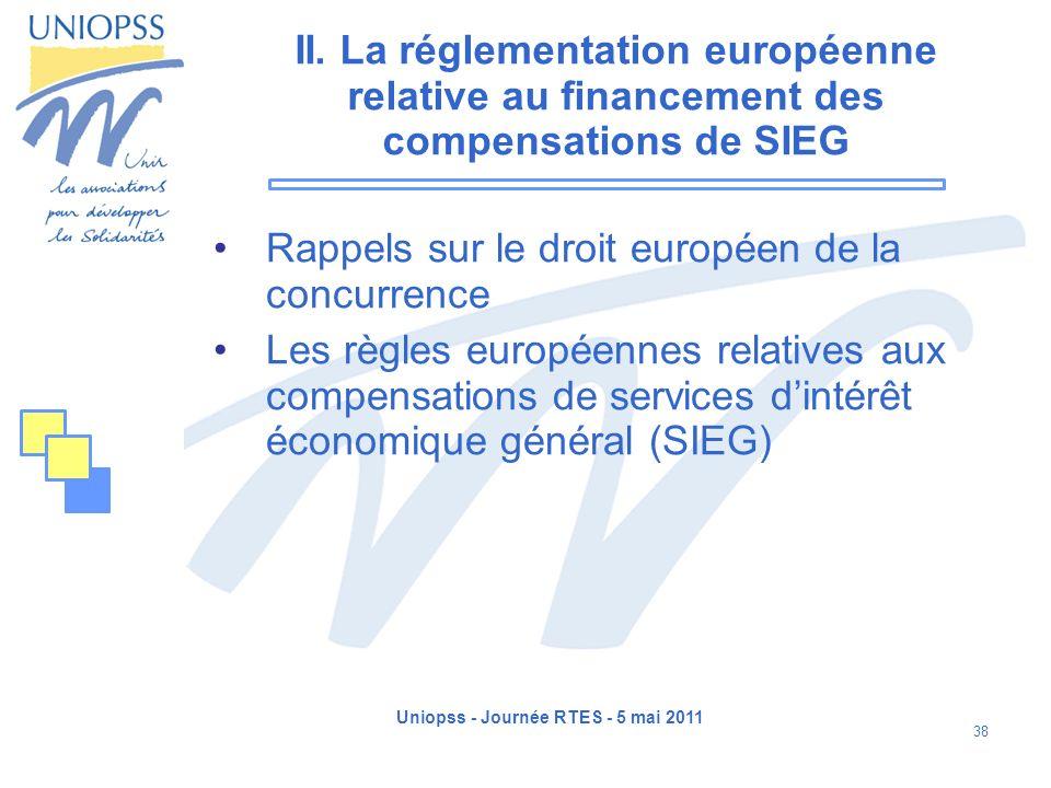 Uniopss - Journée RTES - 5 mai 2011 38 II. La réglementation européenne relative au financement des compensations de SIEG Rappels sur le droit europée