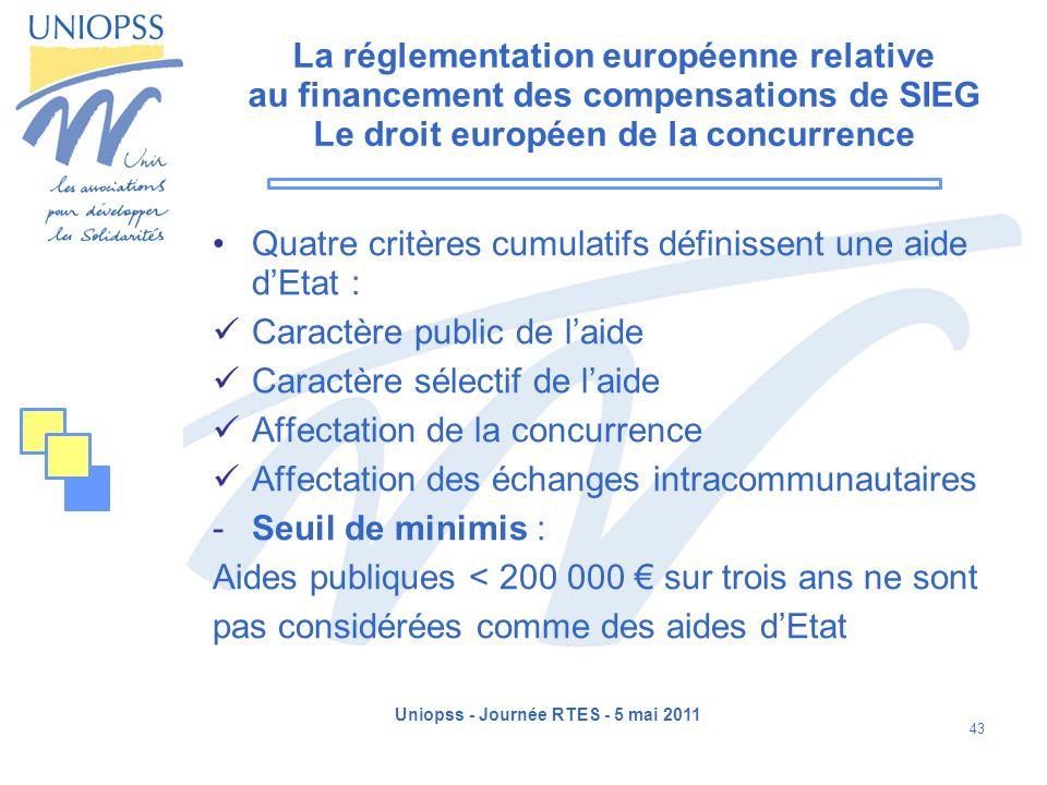 Uniopss - Journée RTES - 5 mai 2011 43 La réglementation européenne relative au financement des compensations de SIEG Le droit européen de la concurre