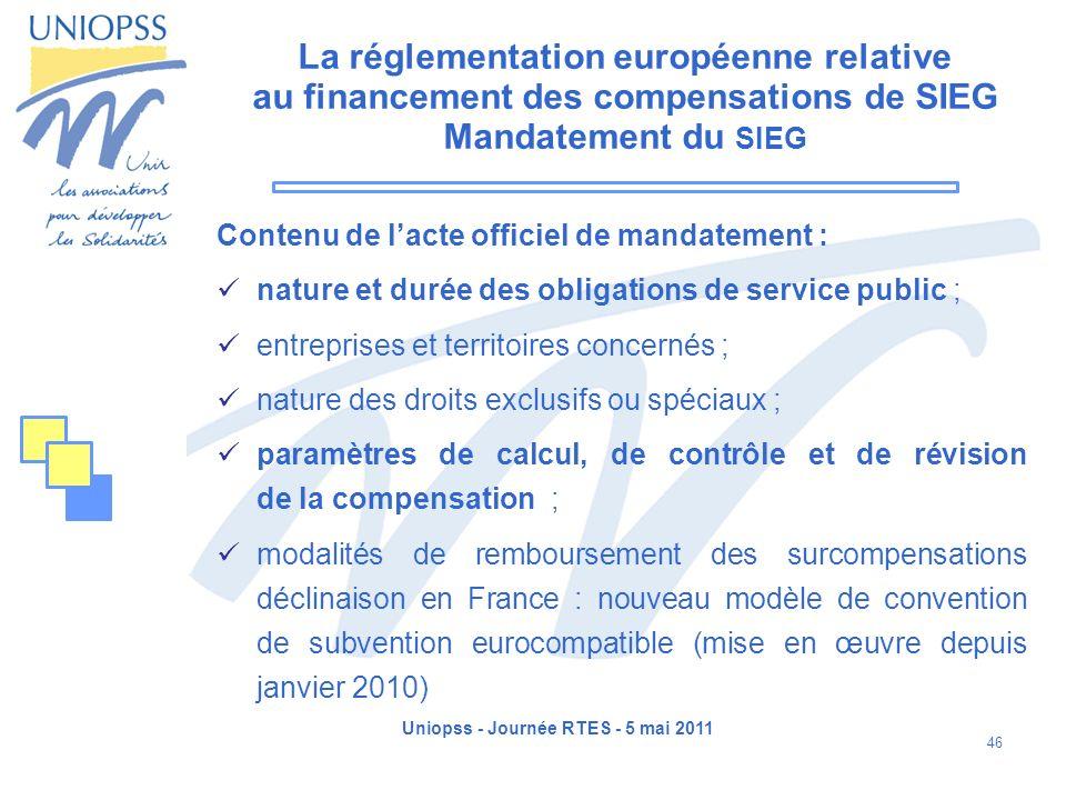 Uniopss - Journée RTES - 5 mai 2011 46 La réglementation européenne relative au financement des compensations de SIEG Mandatement du SIEG Contenu de l