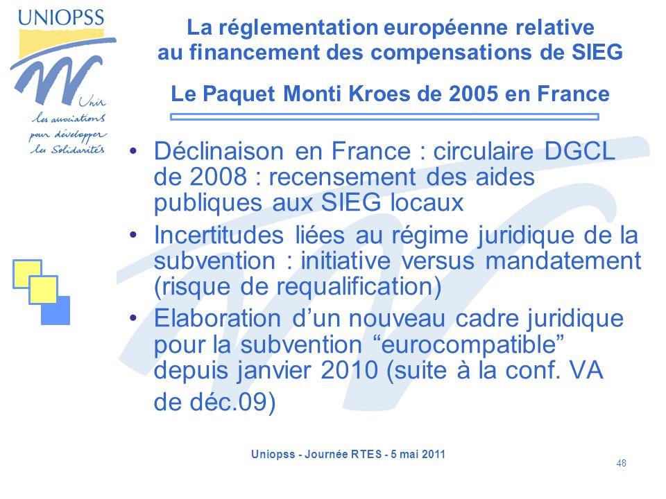 Uniopss - Journée RTES - 5 mai 2011 48 La réglementation européenne relative au financement des compensations de SIEG Le Paquet Monti Kroes de 2005 en